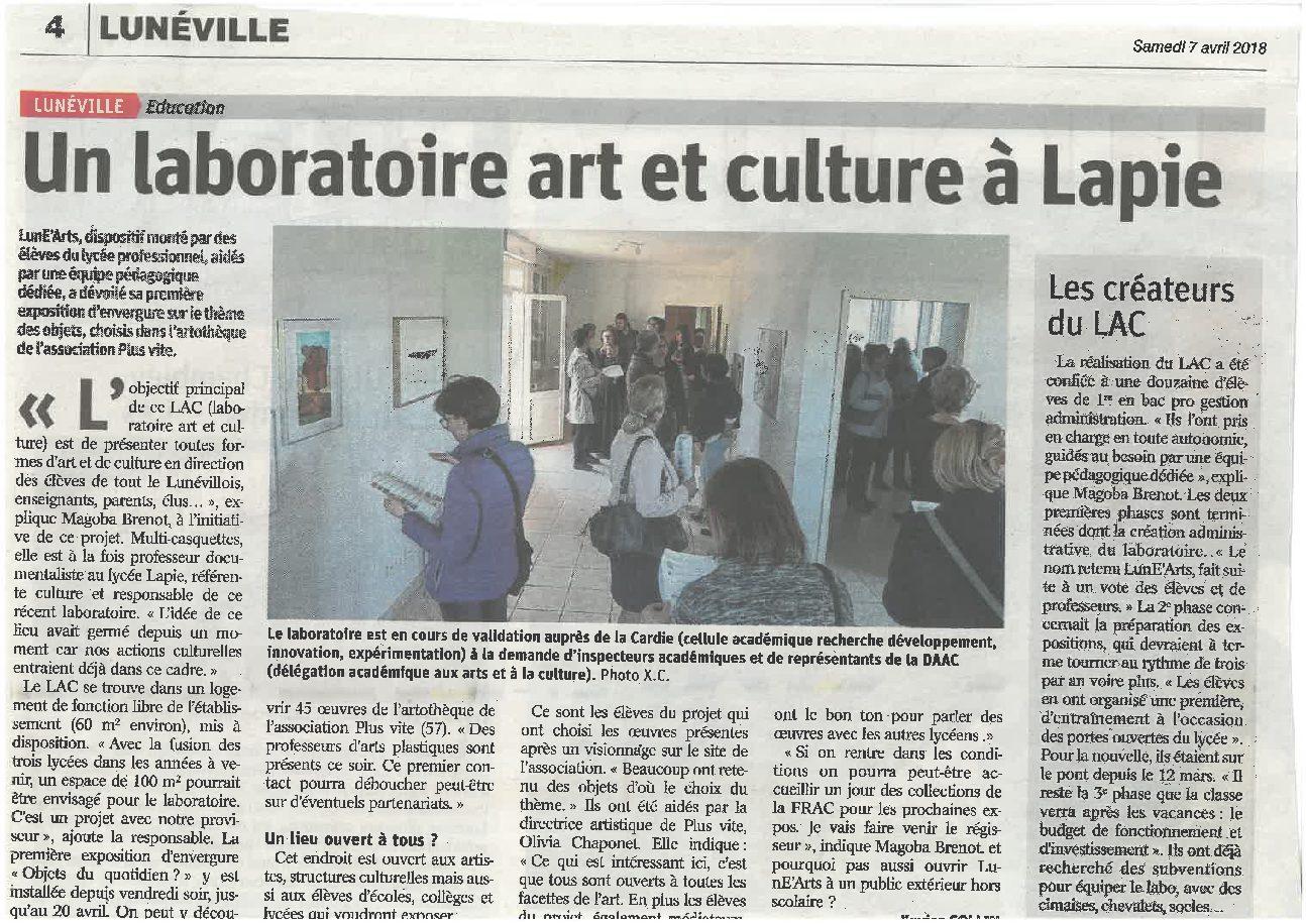 Vernissage et ouverture du Laboratoire Art et Culture