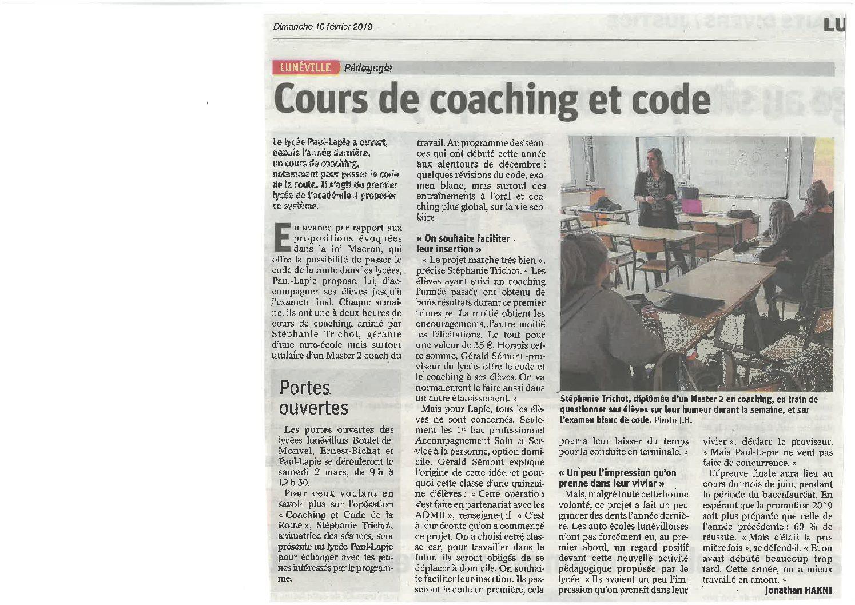cours de coaching pour code de la route