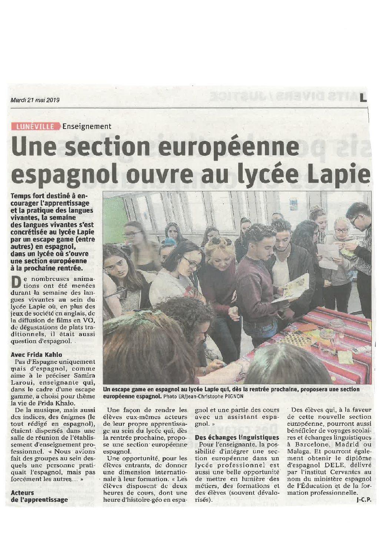 Ouverture d'une section européenne espagnol au lycée