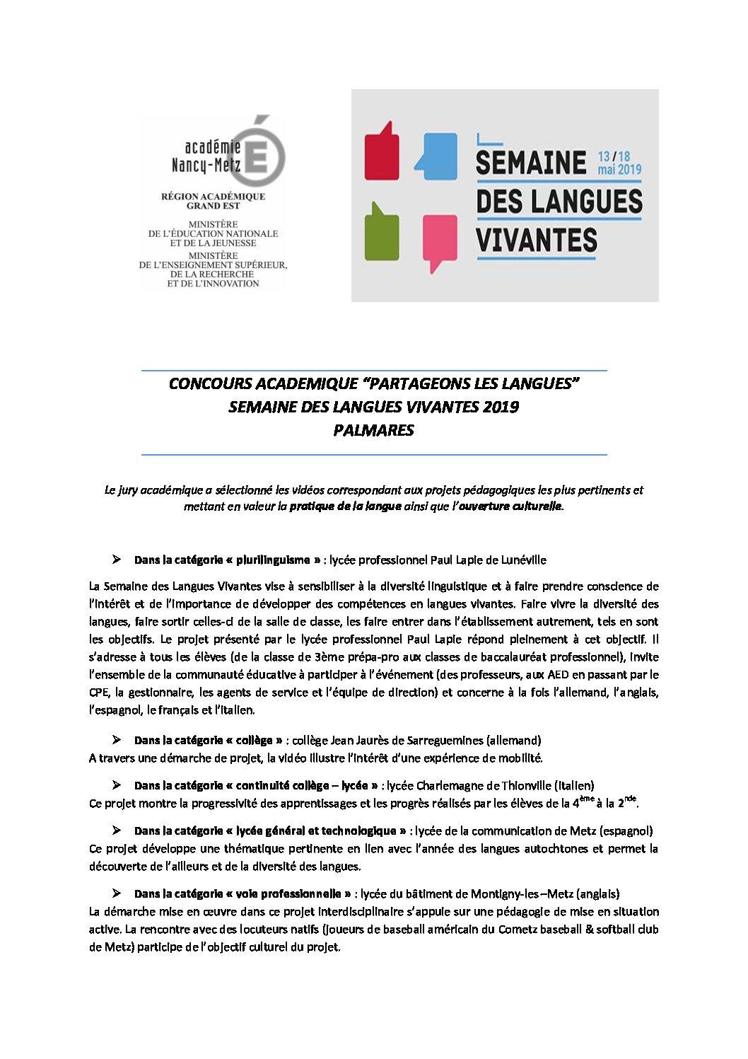 1er prix du concours «Partageons les langues»