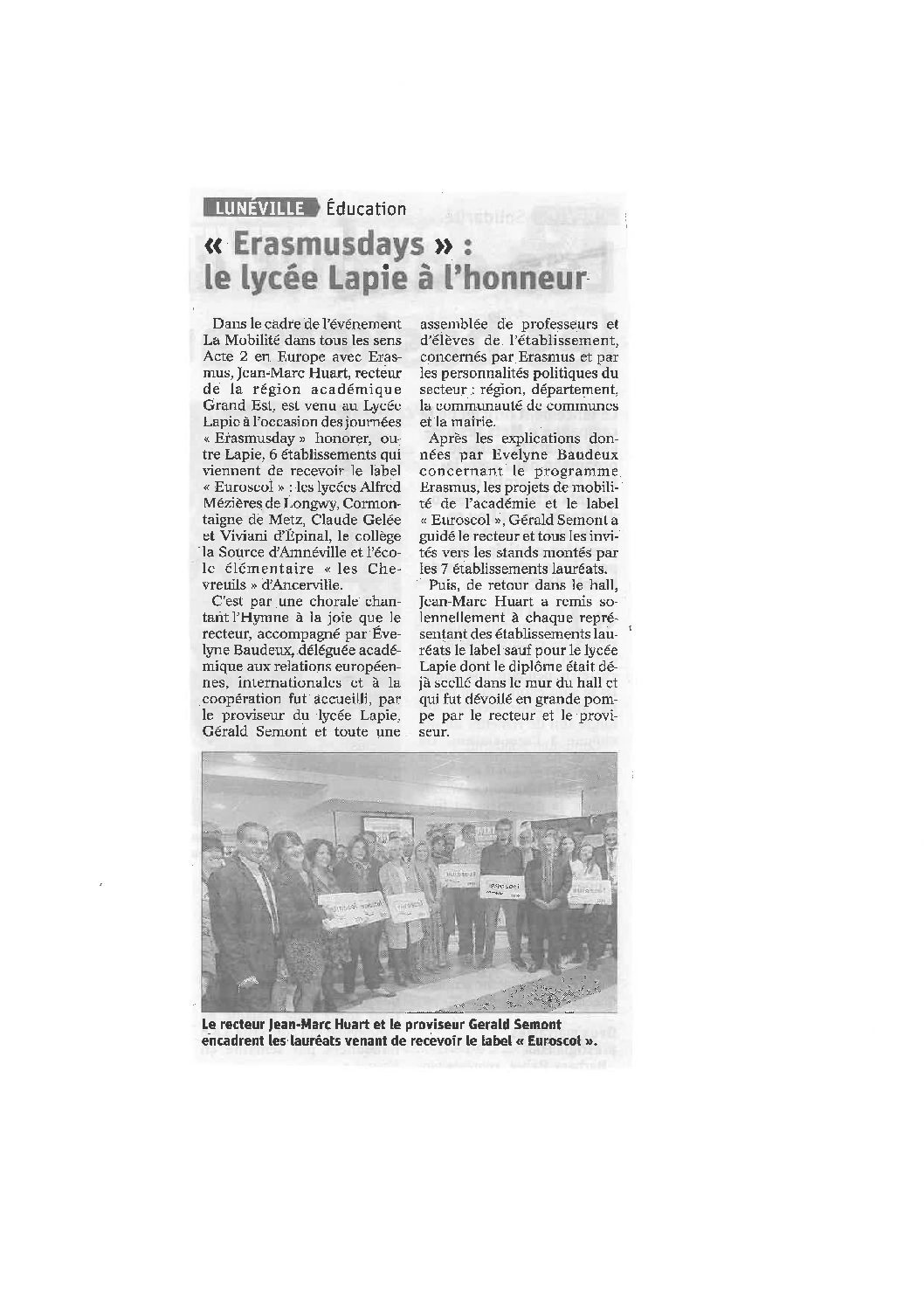 Article de presse label Euroscol