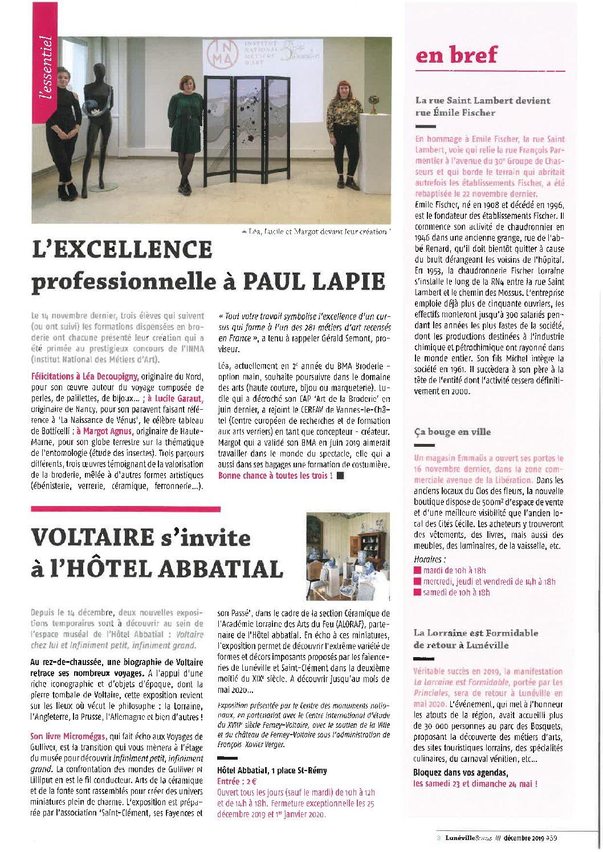 Article dans le magazine «Lunéville et vous»