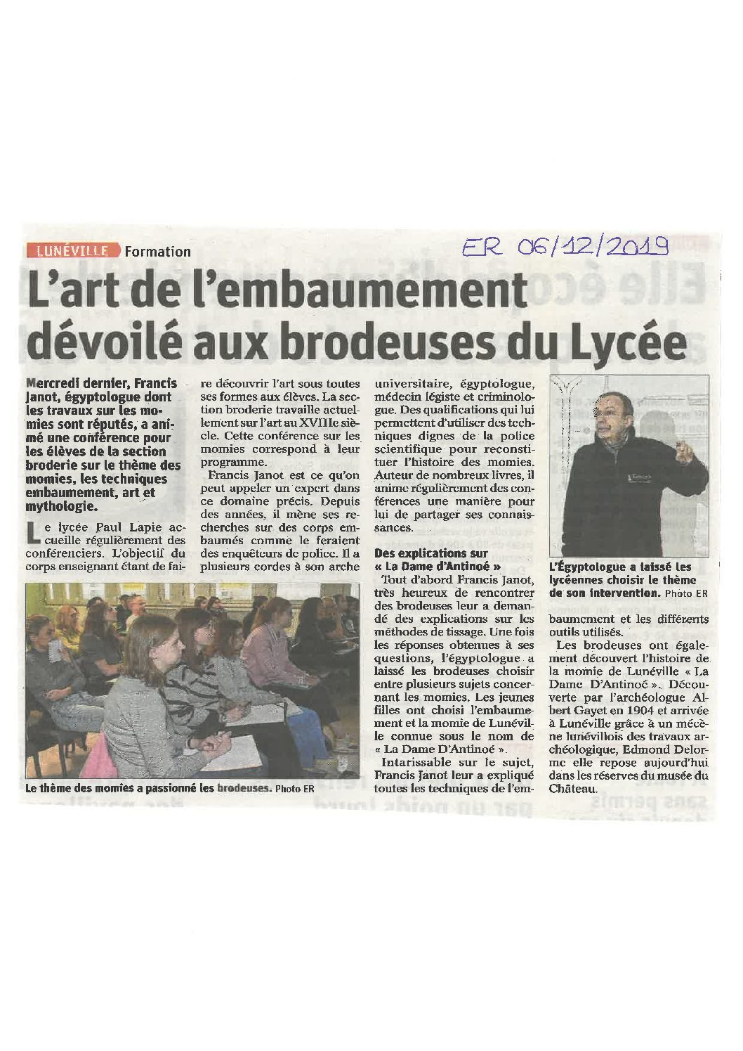 Intervention d'un égyptologue au lycée